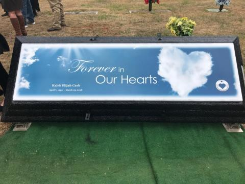 Forever In Our Hearts Clouds Legacy with Name and Dates